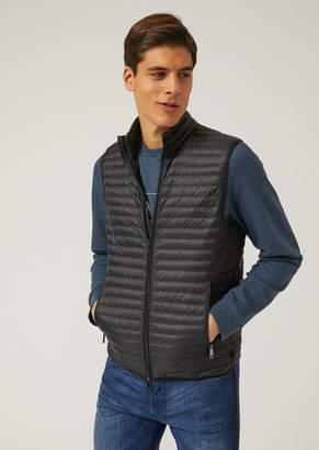 Emporio Armani Sleeveless Down Jacket In Technical Fabric