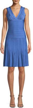 Herve Leger V-Neck Sleeveless Scalloped Pointelle Body-Con Cocktail Dress