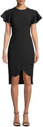 Shoshanna Dade High-Low Flutter-Sleeve Crepe Dress