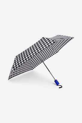 Next Womens Monochrome Houndstooth Print Blue Handle Auto Open Auto Close Umbrella - Black
