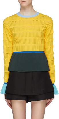 i-am-chen Contrast flared cuffs perforated knit peplum top