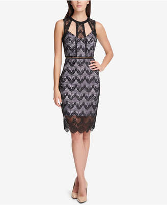 GUESS Cutout Geo-Floral Lace Dress