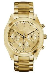 Bulova CARAVELLE Designed by Caravelle Women's Chronograph Gold-Tone Stainless Steel Bracelet Sport Watch 36mm
