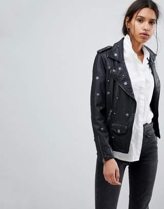 Selected Studded Leather Biker Jacket