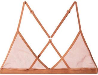 Onia Skin - Stretch Pima Cotton-tulle Soft-cup Triangle Bra - Brick
