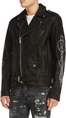 Marcelo Burlon County of Milan Mansi Leather Moto Jacket