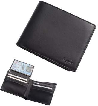 Zodaca Wallets for men by Men's Genuine Leather Bifold Wallet Credit Card Holder with Flip Up ID Window - Black