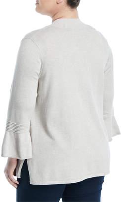 Neiman Marcus 3/4-Bell Sleeve Open Front Cardigan, Plus Size