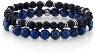 Lapis He Rocks Stone and Black Lava Bead Double Bracelet with Stainless Steel Beads, 8.5""