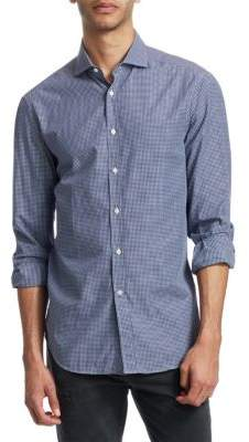 Brunello Cucinelli Mini Windowpane Cotton Button-Down Shirt