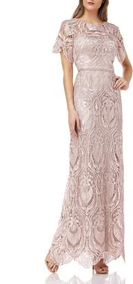 JS Collections Illusion Lace Evening Dress