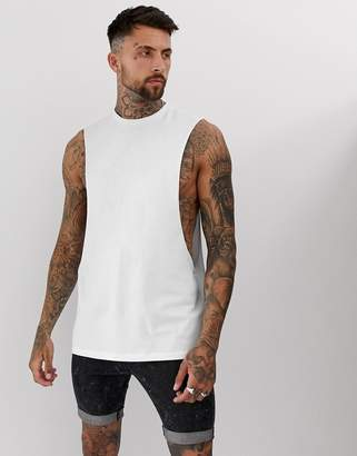 Asos Design DESIGN longline sleeveless t-shirt with extreme dropped armhole in white