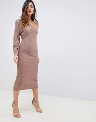 Asos DESIGN one sleeve metallic plisse midi dress