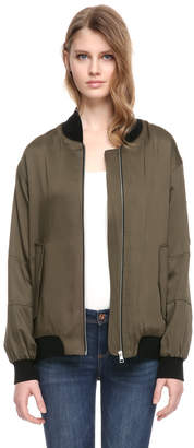 Soia & Kyo SARRA elongated bomber modal jacket with knit details