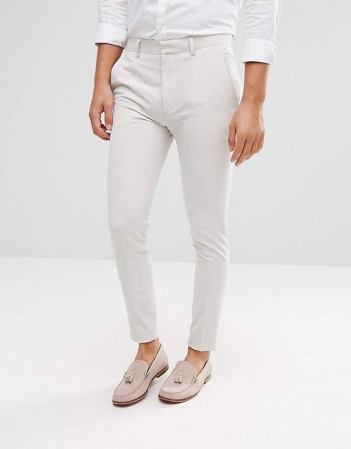 Asos Wedding Super Skinny Smart Pants In Cream