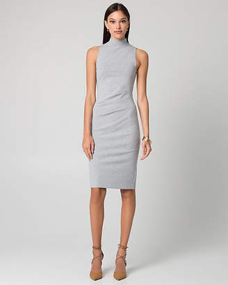 Le Château Ponte Mock Neck Pleated Dress