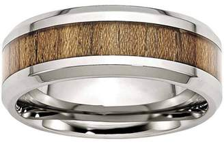Primal Steel Stainless Steel Polished Wood Inlay Enameled 8.00mm Ring, Available in Multiple Sizes