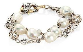 John Hardy Legends Naga 10MM White Baroque Pearl& White Moonstone Triple Row Bracelet