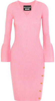 Boutique Moschino - Button-detailed Ribbed Wool Dress - Pink