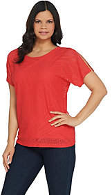 Susan Graver Stretch Lace Short Sleeve Top w/LiquidKnit Tank