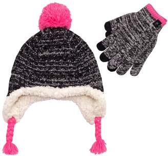 f69bd7228b812 Girls 7-16 Cable-Knit Ear Flap Hat   Tech Touch Gloves Set