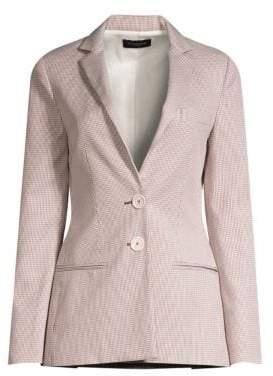 Piazza Sempione Women's Two-Button Houndstooth Blazer - White Beige - Size 38 (2)