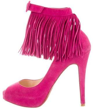 Christian Louboutin Suede Fringe Sandals