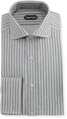 Slim-Fit Striped Cotton-Viscose Dress Shirt