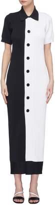 Simon Miller 'Laurin' button front colourblock rib knit polo dress