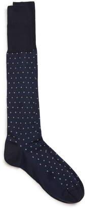 Nordstrom Signature Pima Cotton Blend Dot Over the Calf Dress Socks