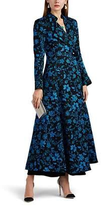 Rebecca de Ravenel Women's Floral Silk-Wool Long Coat - Navy