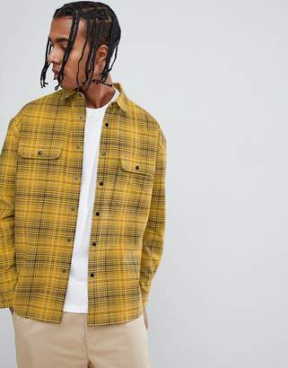 Asos Design Oversized Check Shirt With Poppers In Yellow