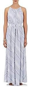 Barneys New York WOMEN'S STRIPED COTTON MAXI DRESS - WHITE/BLUE STRIPE SIZE 44 IT