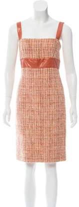 Dolce & Gabbana Snakeskin-Trimmed Tweed Dress