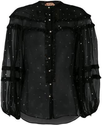 No.21 star print sheer blouse