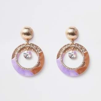River Island Purple glitter rhinestone drop earrings