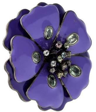 Helen Yarmak Sapphire and Enamel Flower Ring