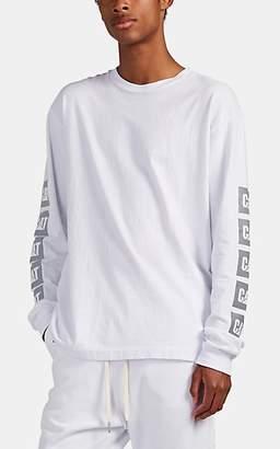 John Elliott Men's University Reflective-Logo Cotton Long-Sleeve T-Shirt - White