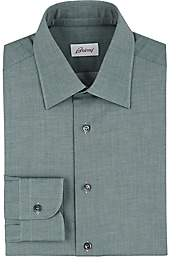 Brioni Men's Mélange Cotton Twill Shirt - Green