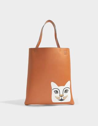 Loewe Vertical Tote Cat Bag in Tan and White Classic Calf