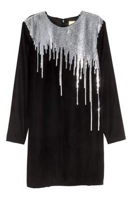 H&M Sequined Velour Dress - Black/silver-colored - Women