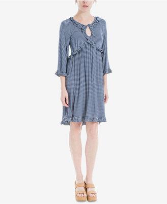 Max Studio London Ruffle-Trim Striped Dress $98 thestylecure.com