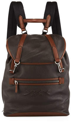 Ermenegildo Zegna Men's Flap Calf Leather Backpack