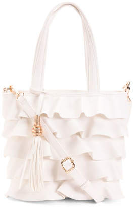 Ruffle Tote With Tassel