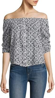 Paige Women's Savannah Off-the-Shoulder Floral-Printed Cotton Top