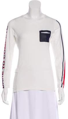 Tory Sport Mesh-Paneled Long Sleeve Top