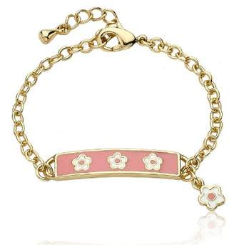 """Little Miss Twin Stars """"Identity Crisis"""" 14k Gold-Plated Chain Bracelet with Enamel Name Plate and White Flowers"""