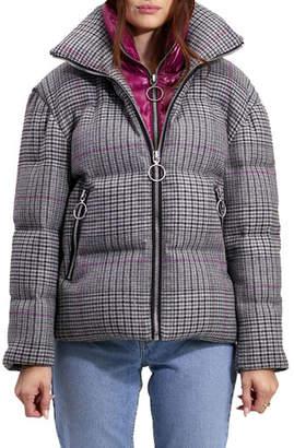 The Very Warm Alma Wool Plaid Puffer Coat w/ Artwork Lining