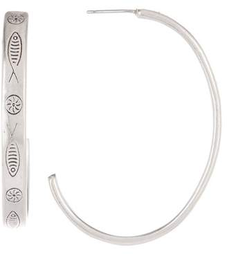 Lucky Brand Fish Etched 45mm Hoop Earrings