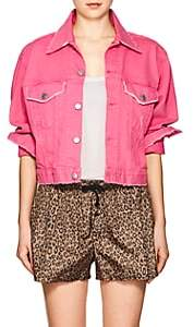 ADAPTATION Women's Denim Crop Trucker Jacket - Pink